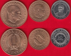 Sierra Leone Set Of 3 Coins: 1/2 Cent - 10 Leones 1964-1996 UNC - Sierra Leona