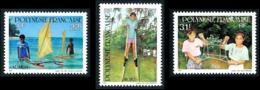 POLYNESIE 1992 - Yv. 415 416 Et 417 **   Faciale= 0,82 EUR - Jeux D'enfants Pirogue Fai Échasse (3 Val)  ..Réf.POL24624 - Polynésie Française
