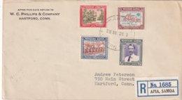 SAMOA 1939 LETTRE RERCOMMANDEE DE APIA AVEC CACHET ARRIVEE HARTFORD - Samoa