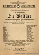 Theaterzettel Die Walküre. Erster Tag Des Bühnenfestspiels Der Ring Des Nibelungen Von Richard Wagner. Weimar, Sonntag, - Programs