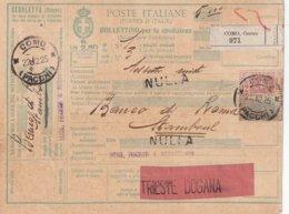 ITALIE 1925 COLIS POSTAL DE COMO - Paketmarken