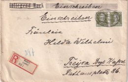 ALLEMAGNE 1927 LETTRE RECOMMANDEE DE RUNKEL CACHET FERROVIAIRE/ZUGSTEMPEL ET CACHET ARRIVEE TREYSA - Storia Postale