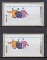 Portugal 2007 ATM Chancengleichheit NV Mi.-Nr. 60.3f  Satz AZUL 0,45-1,85 ** - Frankeervignetten (ATM/Frama)