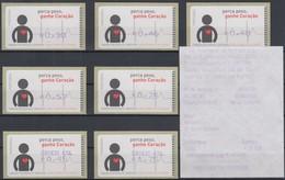 Portugal 2005 ATM Kardiologie Amiel Mi.-Nr. 48.2.1  Satz 7 Werte ** Mit ET-AQ - Frankeervignetten (ATM/Frama)