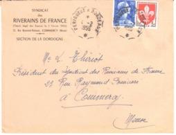 PERIGUEUX à BORDEAUX Convoyeur  20F Muller 5F Lille Yv 1011B 1186 Ob 1959 - France