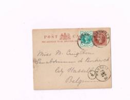 Entier Postal à 1/2 Penny.Expédié De Bushmills à Bokrijk (Belgique) - Luftpost & Aerogramme