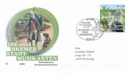 GERMANY Mi. Nr. 3287 Wohlfahrt: Grimms Märchen  - Die Bremer Stadtmusikanten- FDC - FDC: Buste