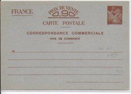 """IRIS - 1940 - CARTE ENTIER POSTAL COMMERCIALE """"AVIS DE COMMANDE"""" NEUVE STORCH H3 - COTE = 85 EUR. - Entiers Postaux"""