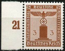 DT.REICH 1942/44, D156y, 3 PF. WAAGR.GUMMIRIFFELUNG, POSTFRISCH, BPP SIGN, Mi 12 - Dienstpost