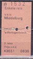 1981 Treinkaartje Enkeltje Van Middelburg Naar 's-Hertogenbosch Zoals Getoond Op Scan - Spoorweg
