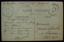 Limoges 1917, Commission Militaire De La Gare Carte Pour Sonnac, Cachet Tireté (Charente Inférieure) - Marcophilie (Lettres)