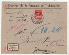 Suisse // Schweiz // Switzerland //  1907-1939 // Lettre  Du Receveur De La Commune De Troistorrents - Suisse