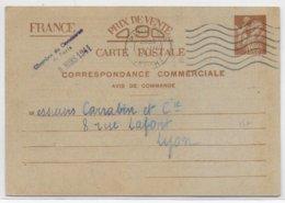 """IRIS - 1941 - CP ENTIER POSTAL COMMERCIALE """"AVIS DE COMMANDE"""" De PARIS Via CHAMBRE DE COMMERCE => LYON - 1939-44 Iris"""
