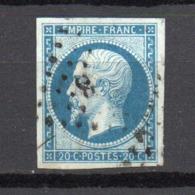 - FRANCE N° 14Ba Oblitéré Losange PC - 20 C. Bleu S. Vert Napoléon III Type II 1860 - Cote 210 EUR - - 1853-1860 Napoleon III