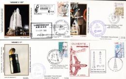 FranceLot Oblitérations Spaciales Ariane Kourou Mureaux 1981 1982 1988 2000 - FDC