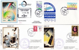 FranceLot Oblitérations Spaciales Ariane Kourou 1981 1982 1992 - FDC
