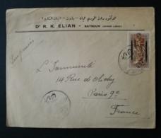 Enveloppe Batroun Grand Liban Pour Paris - Great Lebanon (1924-1945)
