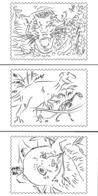 FranceLot De 5 Cartes Postales à Colorier émises Par La Poste - Silhouette D'animaux : Chien Chat Tigre Panda Dinosa - Documenti Della Posta