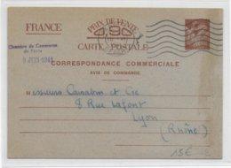 """IRIS - 1941 - CP ENTIER COMMERCIALE """"AVIS DE COMMANDE"""" De PARIS Via CHAMBRE De COMMMERCE => LYON - 1939-44 Iris"""