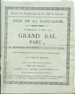VILLE DE SAUMUR - Annonce Du GRAND BAL PARE - 25 Aôut 1819 - Historische Documenten