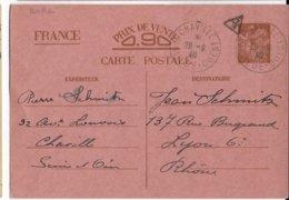 IRIS - 1940 - CP ENTIER FAMILIALE INTERZONE En ROUGE (PLUS RARE) De CHAVILLE BANLIEUE OUEST - CENSURE => LYON - Standaardpostkaarten En TSC (Voor 1995)