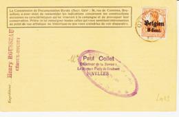 ALLEMAGNE, Tp Allemagne Surchargé Belgien 8 Cent , D'ottignies 1917 Pour Nivelles  TB - Briefe U. Dokumente