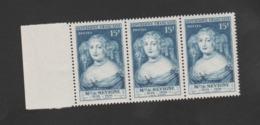 FRANCE / 1950 / Y&T N° 874 ** : Mme De Sévigné X 3 En Bande Dont 1 BdF G - Gomme D'origine Intacte - France