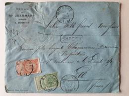 Lettre - ASSURÉ - Armoiries Et Barbe Fine - 16/10/1897-1000 Fr Doische  Lille Gare - Belgique