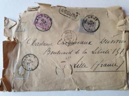Lettre - ASSURÉ - Barbe Fine - HANNUT Centre 10/02/1885 - Lille - Belgique