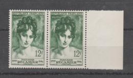 FRANCE / 1950 / Y&T N° 875 ** : Madame Récamier X 2 En Paire Dont 1 BdF D - Gomme D'origine Intacte - France