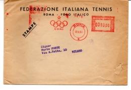 1961 EMA Affrancatura Meccanica Rossa Freistempel Roma CONI Cerchi Olimpici Su Busta Federazione Italiana Tennis Sport - Machine Stamps (ATM)