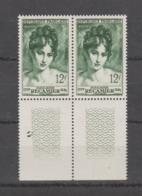 FRANCE / 1950 / Y&T N° 875 ** : Madame Récamier X 2 En Paire Dont 2 BdF Bas - Gomme D'origine Intacte - France