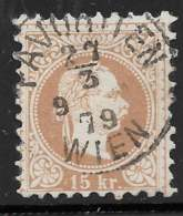 Michel 39 IIa - 15 Kr Brun-jaune - O - 1850-1918 Impero