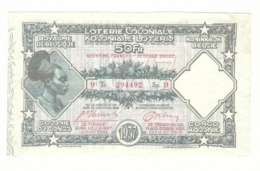 Loterie Coloniale 9e Tranche 1937    50fr.     Koloniale  Loterij 9de Tranche 1937  50fr - Billets De Loterie