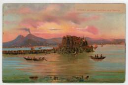 C.P.PICCOLA     NAPOLI   COL  CASTEL  DELL' OVO ED  IL  VESUVIO           2 SCAN  (NUOVA) - Napoli (Naples)