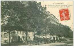 75.PARIS.14eme ARR.n°26830.LES MOULINS ST PIERRE ET STATION DE VOITURES.AVENUE DU MAINE EN FACE DE L'EGLISE - District 14