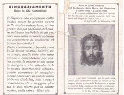 IMMAGINE SACRA PIEGHEVOLE RICORDO COMUNIONE PASQUALE ANNO SANTO 1933 PARROCCHIA DI MONTEGEMOLI - Religion & Esotérisme