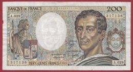 """200 Francs """"Montesquieu"""" 1985----F/TTB+--ALPH. A.029 - 1962-1997 ''Francs''"""