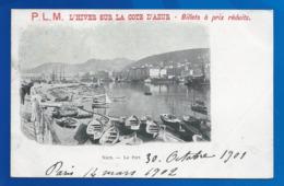 """CHEMIN DE FER. PLM . """" HIVER SUR LA COTE D' AZUR..BILLETS A PRIX REDUITS.PRECURSEUR.. AFFICHE FORMAT CP ANCIENNE...C3321 - Chemins De Fer"""