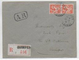 IRIS - 1941 - ENVELOPPE RECOMMANDEE AR LOCALE De QUIMPER (FINISTERE) - 1939-44 Iris
