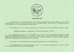 """België - Dienstpostkaart - Koksijde - International Airshow - """"De Havillands-Mosquito - MK IV"""" - (1994) - Storia Postale"""