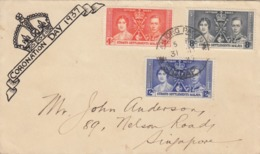 COVER MALAYA. CORONATION DAY. 31 MY 37. TANJONG-PAGAR TO SINGAPORE - Briefmarken