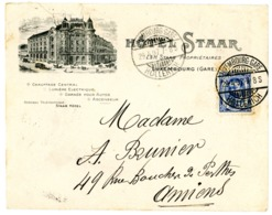 LUXEMBOURG ENV ILLUSTREE 1907 STAAR HOTEL LUXEMBOURG GARE / HOLLERICH => FRANCE (PETITE DECHIRURE A L OUVERTURE) - 1906 Guglielmo IV