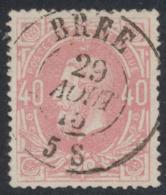 "émission 1869 - N°34 Obl Double Cercle ""Brée"". Superbe - 1869-1883 Leopold II."