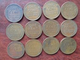 12 ONE CENTS DE 1910 à 1937 - LINCOLN - EDICIONES FEDERALES