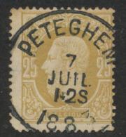 """émission 1869 - N°32 Obl Simple Cercle """"Peteghem"""". Superbe / COBA : 15 - 1869-1883 Leopold II."""