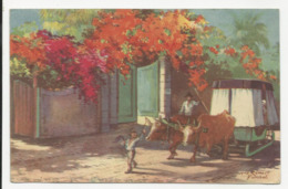 Madeira - Bullock Car On The Estrada Monumental From A Water Colour By Max Romer - Serie Nº2 - Madeira