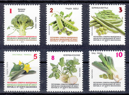 North Macedonia 2019 Vegetables Broccoli Peach Beans Cucumber Cheerlead Leaf Definitive Set MNH - Macedonia