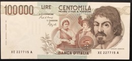 100000 Lire Caravaggio I° Tipo 1992 SOSTITUTIVA XE  Spl+ Biglietto Naturale  LOTTO 1784 - 100000 Lire