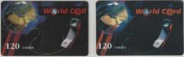 Lot De 2 Cartes Prépayées Différentes - WORLD CARD   -  Prépaid  - (valeur Et/ou Verso  Différent) - Frankrijk
